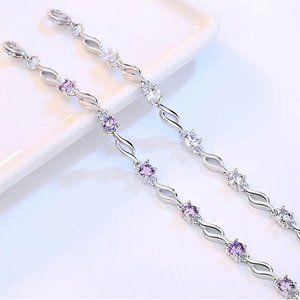 NEW 925 Sterling Silver Diamond Wave Bracelet